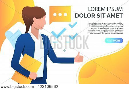 Woman Showing Thumb Up And Recommending Business Product. Representative, Recommendation Concept. Pr