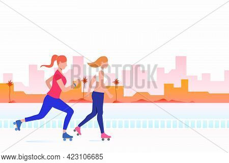 Women Skating With Distant Buildings In Background. Lifestyle, Activity, Leisure Concept. Vector Ill