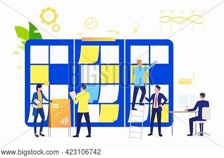 Marketing Group Working On Presentation. Scrum Meeting, Teamwork, Task List. Business Concept. Vecto