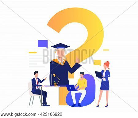 People Searching Internet At Home And In Office Vector Illustration. Faq, Online Education, Inquiry.
