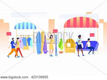 People Shopping And Selling Clothes And Skis Outdoors. Buying, Street, Retail, Marketplace Concept.
