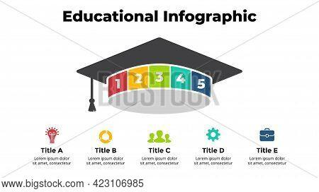 Graduation Cap Infographic. Educational Concept. Student Finished University. 5 Options Diagram. Vec