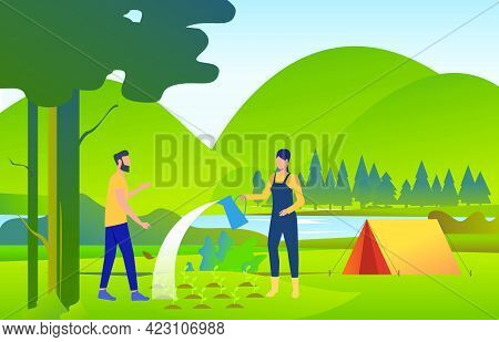 People Watering And Planting Trees In Wild Nature. Eco, Ecosystem, World, Landscape Concept. Vector