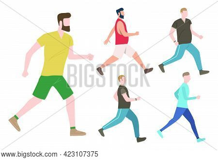 Set Of Male Keeping Active Lifestyle. Well Built And Fat Men Walking And Running. Fitness Concept. V