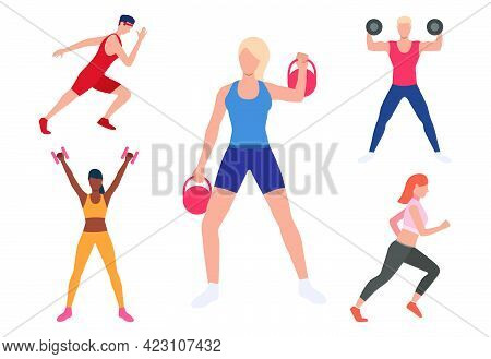 Set Of Men And Women Exercising In Gym. People Lifting Weight, Training Strength, Running. Sport Con