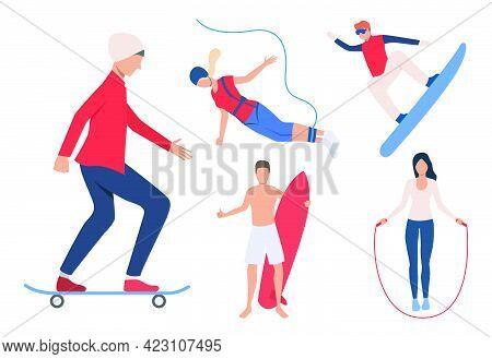 Set Of Outdoor Activities. Men And Women Snowboarding, Skateboarding, Surfing, Jumping Rope. Activit