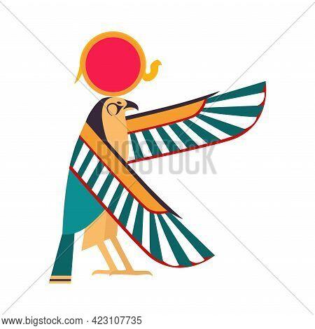 Horus As Ancient Egyptian Deity Of Sun And Egypt Symbol Vector Illustration