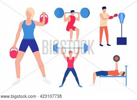 Set Of Strength Training. Men And Women Lifting Weights, Pressing Barbells And Boxing. Activity Conc