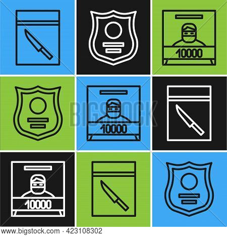 Set Line Evidence Bag And Knife, Wanted Poster And Police Badge Icon. Vector