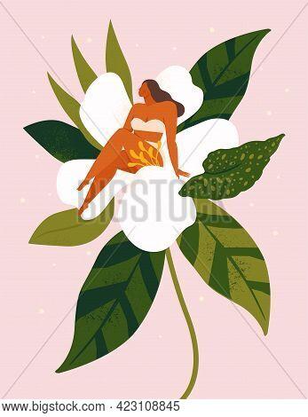 Little Woman Sitting On Wonder The Huge Spring Flower. Vector Illustration.