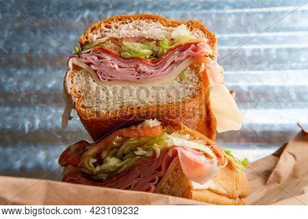 Italian Sub Sandwich With Provolone Cheese Ham Prosciuttini Cappacuolo Salami And Pepperoni
