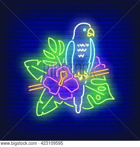 Parrot Neon Sign. Blue Tropical Bird On Blooming Twig. Glowing Banner Or Billboard Elements. Vector