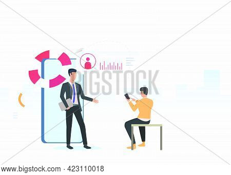 Business Consultant And Man Using Smartphone. Planning, Marketing, Information Concept. Vector Illus