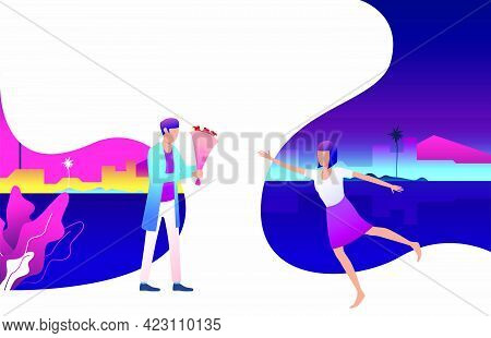 Couple Dating, Man Giving Flowers Bouquet To Girlfriend. Flirt, Together, Feelings Concept. Vector I