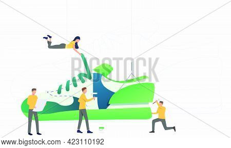 Fashion Designers Constructing Sneakers. People Lacing And Painting Boot. Fashion Concept. Vector Il