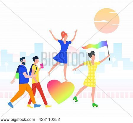 Happy People In Pride Parade. Diversity, Discrimination, Freedom Concept. Vector Illustration Can Be