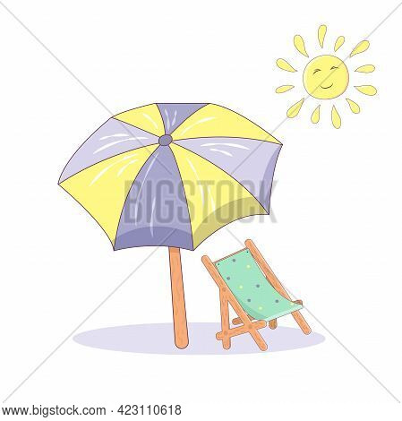 Isolated On A White Background Sun Lounger, Umbrella And Sun In Cartoon Style. Design Concept For A