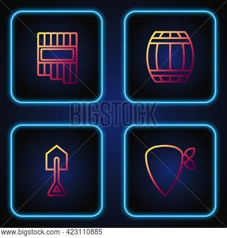 Set Line Cowboy Bandana, Shovel, Pan Flute And Gun Powder Barrel. Gradient Color Icons. Vector