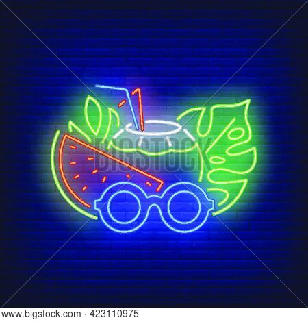 Beach Cocktail And Sunglasses Neon Sign. Summer, Vacation, Holiday. Vacations Concept. Vector Illust