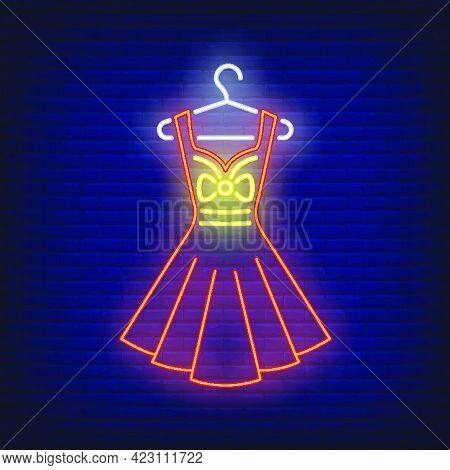 Dress On Hanger Neon Sign. Shopping, Fashion, Garment. New Collection Concept. Vector Illustration I