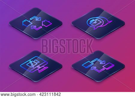 Set Isometric Line Online Working, Video Camera Off On Computer, And . Blue Square Button. Vector