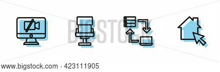 Set Line Online Working, Video Camera Off On Computer, Office Chair And Icon. Vector