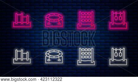 Set Line Jumping Trampoline, Tic Tac Toe Game, Horizontal Bar And Gymnastic Rings. Glowing Neon Icon