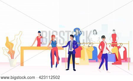 Buyers Choosing And Buying Clothes In Shop. Fashion Outlet, Boutique Concept. Vector Illustration Ca