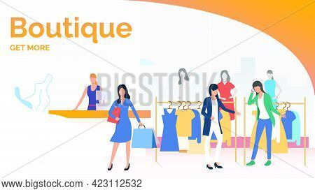 Byers Choosing And Buying Clothes In Boutique. Fashion Outlet, Boutique Concept. Poster Or Landing T