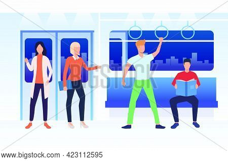 Commuters Travelling By Subway Train. Men And Women Sitting, Standing And Reading In Carriage. Publi