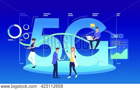 Employees With Laptops Using 5g Internet. Communication, Fifth Generation, Discussion. Technology Co