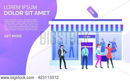 People Standing And Taking Selfie Photo Near Shop Front. Fashion Outlet, Boutique Concept. Poster Or