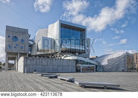 Aalborg, Denmark – September 4, 2020: Musikkens Hus, multifunctional venue with concert halls and rehearsal rooms by Austrian architects Coop Himmelb(l)au