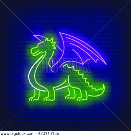 Beautiful Dragon Neon Sign. Chinese Mythology, Culture, Fantasy Design. Night Bright Neon Sign, Colo