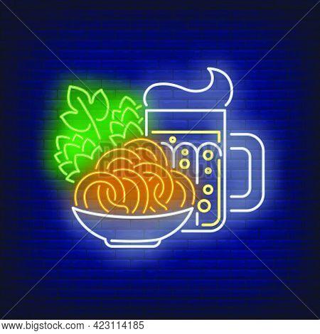 Beer Mug, Pretzels And Hop Cones Neon Sign. Oktoberfest, Appetizer, Party Design. Night Bright Neon