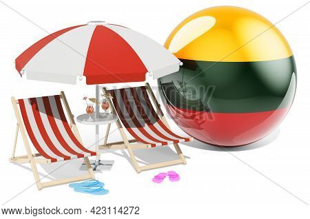 Lithuanian Resorts, Lithuania Vacation, Tours, Travel Packages Concept. 3d Rendering Isolated On Whi