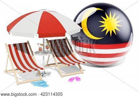 Malaysian Resorts, Malaysia Vacation, Tours, Travel Packages Concept. 3d Rendering Isolated On White