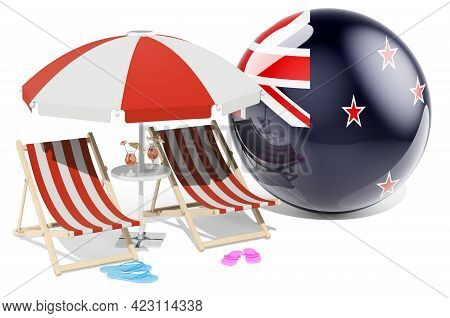 New Zealand Resorts, New Zealand Vacation, Tours, Travel Packages Concept. 3d Rendering Isolated On