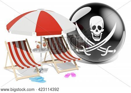 Piracy Vacation, Tours, Travel Packages Concept. 3d Rendering Isolated On White Background