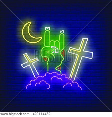 Graveyard With Devil Horn Zombie Hand Gesture Neon Sign. Halloween, Monster, Horror Design. Night Br