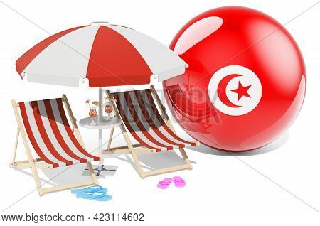 Tunisian Resorts, Tunisia Vacation, Tours, Travel Packages Concept. 3d Rendering Isolated On White B