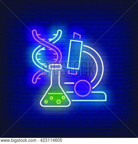 Laboratory Neon Sign. Chemical Beaker, Microscope, Dna Molecule. Back To School Concept. Vector Illu