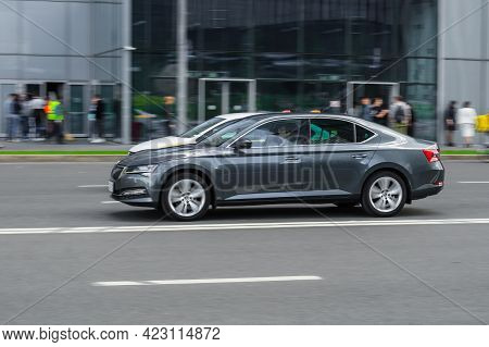 Moscow, Russia - June 2021: Gray Skoda Superb B8, Side View. Photography Of A Modern Premium Sedan D