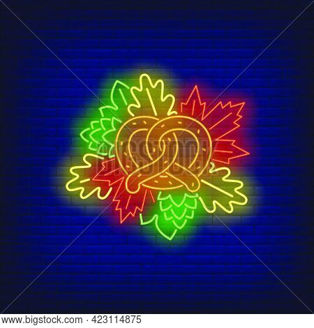 Pretzel And Autumn Leaves Neon Sign. Oktoberfest, Appetizer, Party Design. Night Bright Neon Sign, C