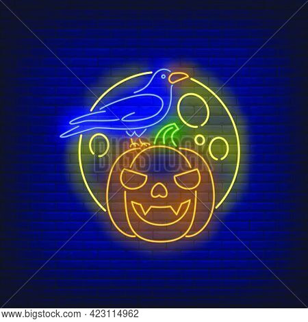 Pumpkin Face, Crow And Moon Neon Sign. Halloween Party, Autumn Design. Night Bright Neon Sign, Color