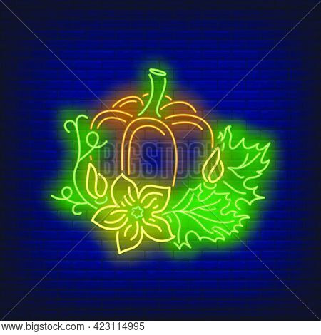 Pumpkin With Leaves Neon Sign. Halloween Party, Autumn Design. Night Bright Neon Sign, Colorful Bill