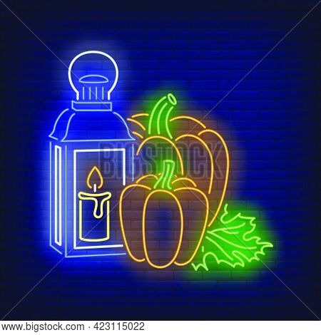 Pumpkins And Lantern With Candle Neon Sign. Halloween Party, Autumn Design. Night Bright Neon Sign,