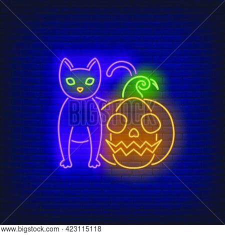 Scary Pumpkin And Cat Neon Sign. Halloween Party, Autumn Design. Night Bright Neon Sign, Colorful Bi