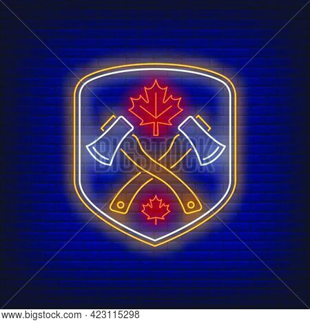 Shield With Crossed Axes And Maple Leaf Neon Sign. Canada, Autumn, Advertisement Design. Night Brigh