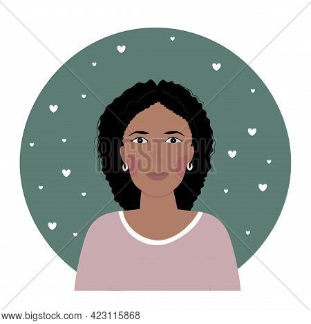 Portrait Of An African American Woman Middle Age. Profile Photo.
